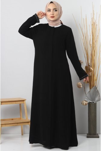 Arms Stone Detailed Abayas TSD4611 Black