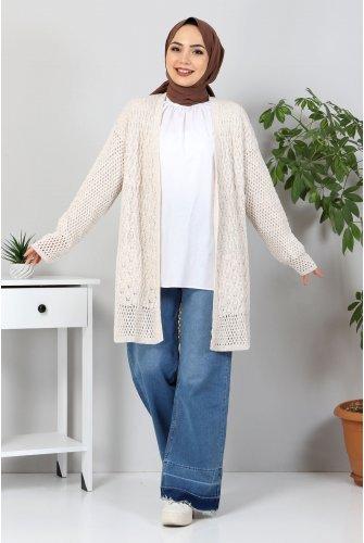 Ajur Patterned Knitwear Cardigan TSD30110 Beige