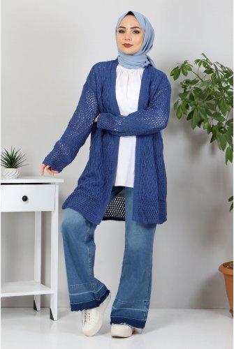 Ajur Patterned Knitwear Cardigan TSD30110 İndigo