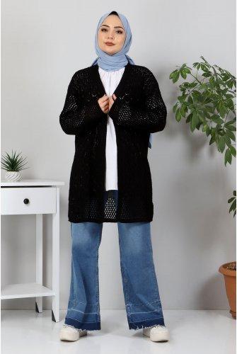Ajur Patterned Knitwear Cardigan TSD30110 Black