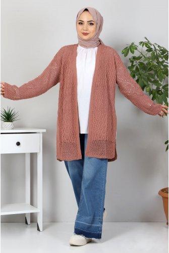 Ajur Patterned Knitwear Cardigan TSD30110 Rose Kurusu