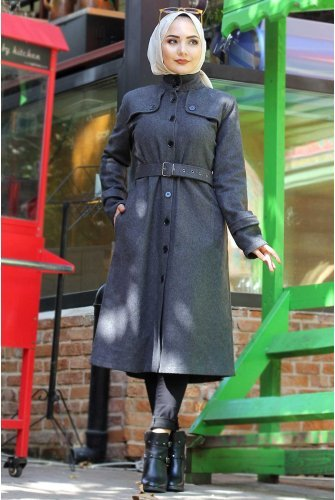 Arched Stamping fabric Coat TSD0211 Antrasit