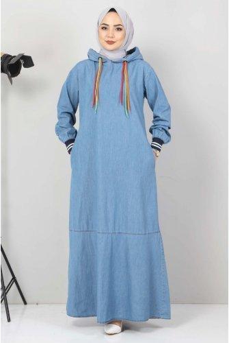 Lace Detailed Hooded Jeans Dress TSD1431 Light blue