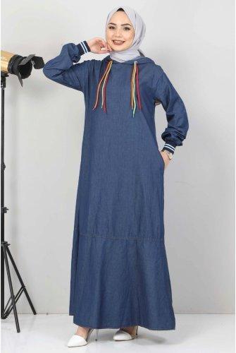 Lace Detailed Hooded Jeans Dress TSD1431 Dark Blue