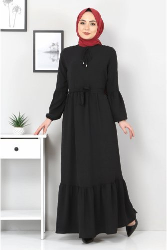 Balloon Arm Ayrobin Dress TSD1105 Black