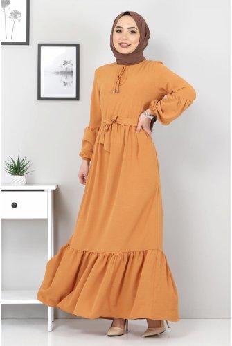 Balloon Arm Ayrobin Dress TSD1105 Orange