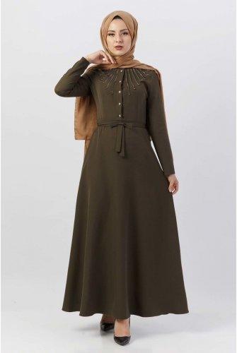 Boncuk Detailed Hijab Dress TSD9612 Khaki