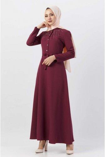 Boncuk Detailed Hijab Dress TSD9612 Damson