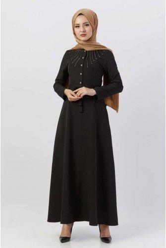 Boncuk Detailed Hijab Dress TSD9612 Black