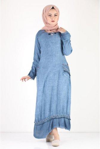 Boncuk Detailed Summery down at heels Hijab Dress TSD7474 Blue