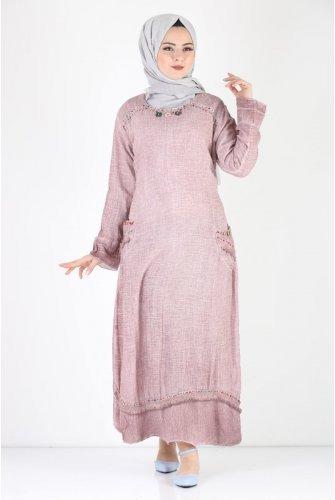 Boncuk Detailed Summery down at heels Hijab Dress TSD7474 Rose Kurusu