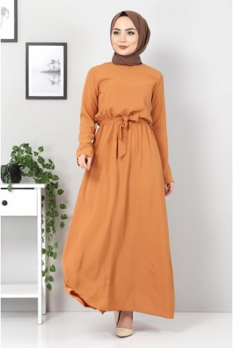 waisted Elastic Ayrobin Dress TSD5521 Cinnamon
