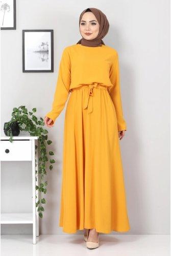 waisted Elastic Ayrobin Dress TSD5522 Mustard