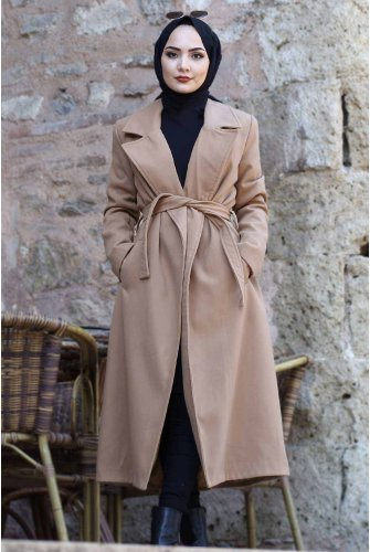 Belted Stamping fabric Coat TSD2027 Camel
