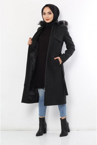 Belted Stamping fabric Coat TSD9920 Antrasit