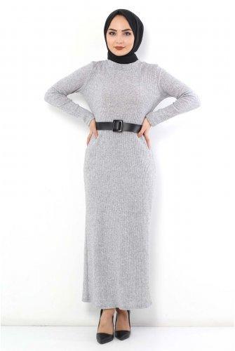 Arched Knitwear Dress TSD1742 Grey