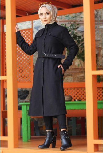 Arched Stamping fabric Coat TSD0211 Black