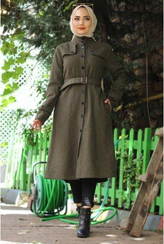 Arched Stamping fabric Coat TSD0211 Khaki