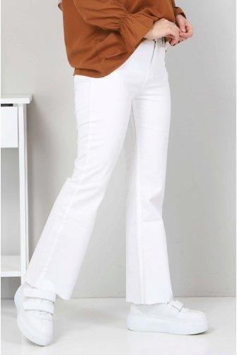 Bilek Length Spanish Trotter Jeans Pants TSD22059 White