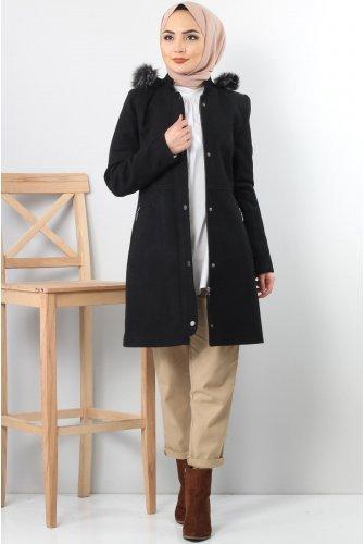 Snap Stamping fabric Coat TSD2908 Black