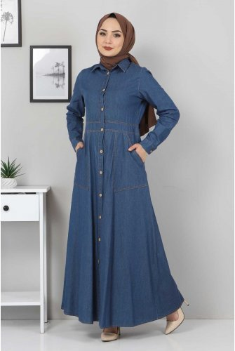from end Button Jeans Dress TSD0389 Dark Blue