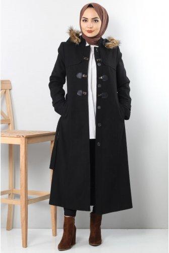Buckle Stamping fabric Coat TSD1839 Black