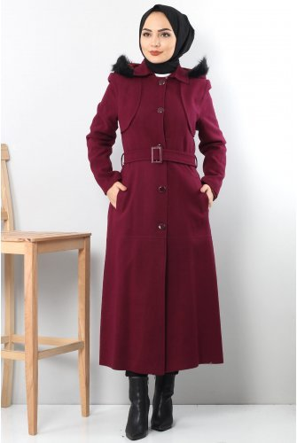 from end Button Stamping fabric Coat TSD1840 Damson