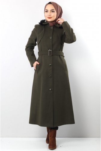 from end Button Stamping fabric Coat TSD1840 Khaki