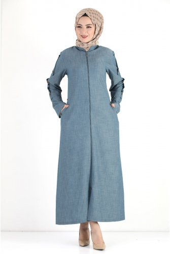 Arms Button Plus Size Jilbab TSD8889 Light blue