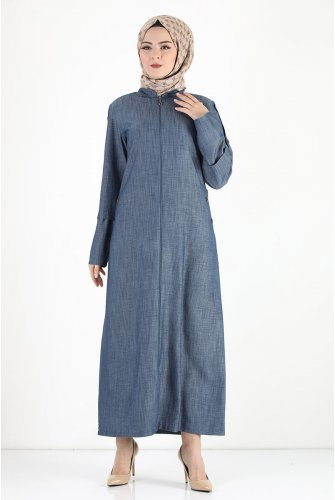 Arms Button Plus Size Jilbab TSD8889 Dark Blue