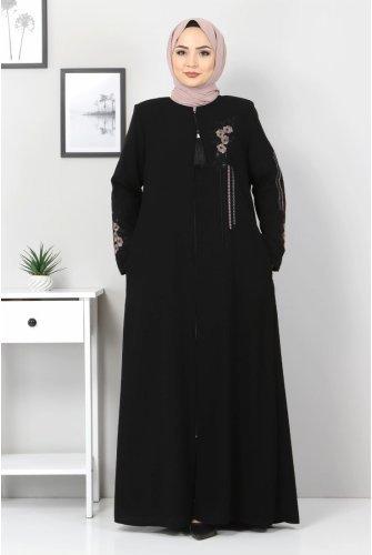 Plus Size Çiçek Embroidered Abayas TSD0803 Black