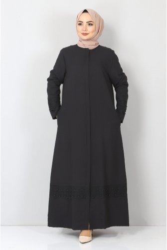 Plus Size Laced Abayas TSD1003 Black