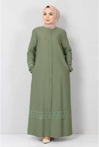 Plus Size Laced Abayas TSD1003 Green