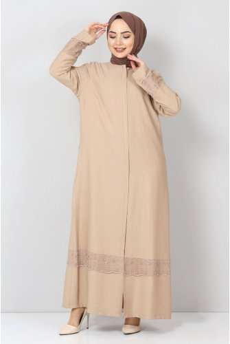 Plus Size Laced Abayas TSD1003 Beige