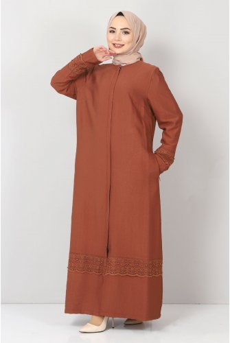 Plus Size Laced Abayas TSD1003 Brown