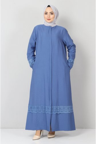 Plus Size Laced Abayas TSD1003 Blue