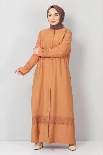 Plus Size Laced Abayas TSD1003 Orange