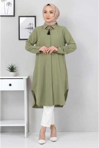 Plus Size necklace Tunics TSD1844 Khaki