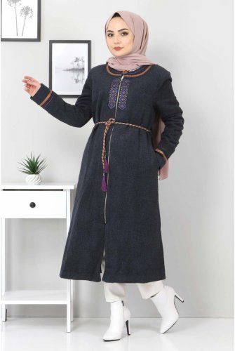 Plus Size Embroidered Stamping fabric Coat TSD00246 Navy blue