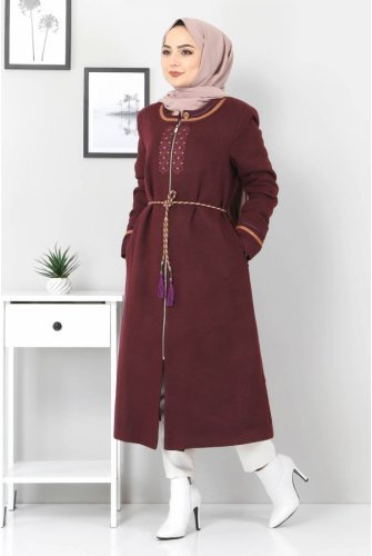 Plus Size Embroidered Stamping fabric Coat TSD00246 Damson
