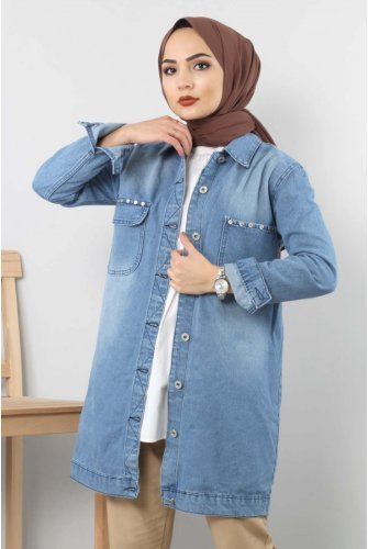 Front pocket Fitted Jeans Jacket TSD06217 Light blue