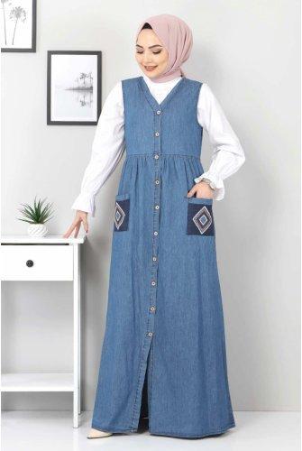 pocket Embroidered Jeans Salopet TSD04108 Blue