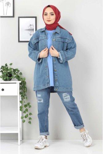 Pocket Detailed Jeans Jacket TSD5129 Light blue