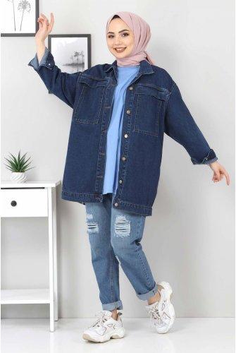 Pocket Detailed Jeans Jacket TSD5129 Dark Blue
