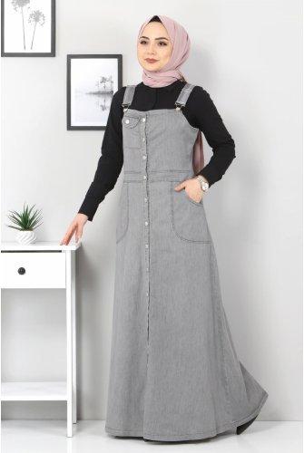 Pocket Detailed Jeans Salopet TSD1445 Grey