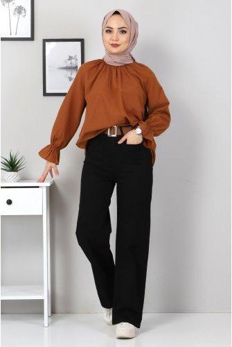 Front Pocket Detailed Pants TSD9902 Black