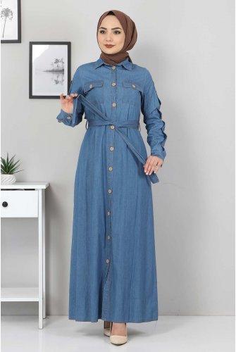 Pockets Button Jeans Dress TSD0388 Light blue
