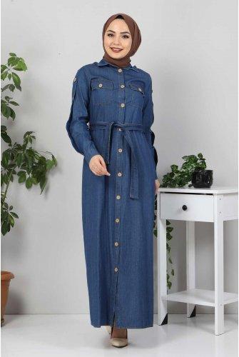 Pockets Button  Jeans Dress TSD0388 Dark Blue