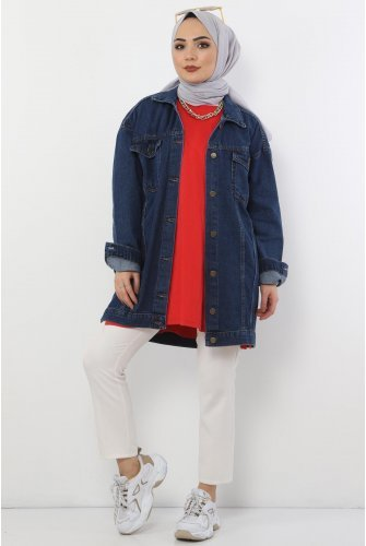 Pockets Jeans Jacket TSD2519 Dark Blue