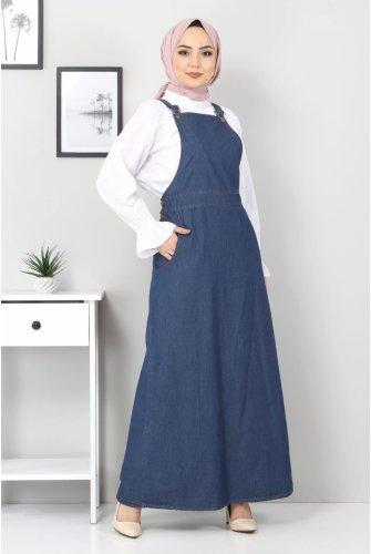 Pockets Hijab Jeans Salopet TSD01341 Dark Blue